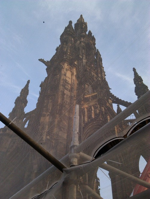 Scott Monument through muslin netting